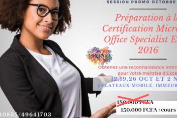 Préparation à la Certification Microsoft Office Excel 2016
