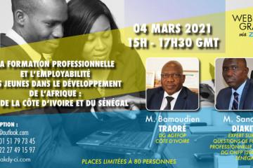la formation professionnelle et l'employabilité des jeunes dans le développement de l'Afrique- webinaire via zoom