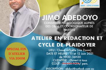 ATELIER EN REDACTION ET CYCLE DE PLAIDOYER